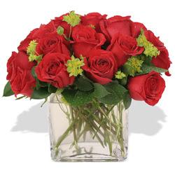 Mardin çiçekçi telefonları  10 adet kirmizi gül ve cam yada mika vazo