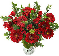 5 adet kirmizi gül 5 adet gerbera aranjmani  Mardin hediye çiçek yolla