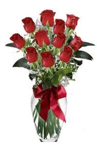 11 adet kirmizi gül vazo mika vazo içinde  Mardin 14 şubat sevgililer günü çiçek
