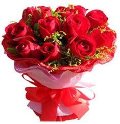 9 adet kirmizi güllerden kipkirmizi buket  Mardin çiçekçiler
