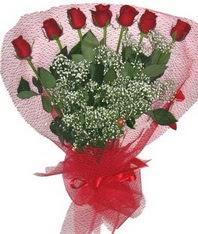 7 adet kipkirmizi gülden görsel buket  Mardin çiçek mağazası , çiçekçi adresleri