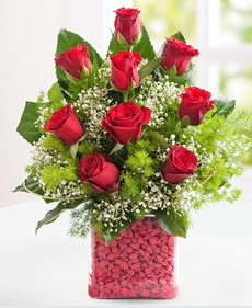 Cam içerisinde 9 adet kırmızı gül  Mardin internetten çiçek satışı
