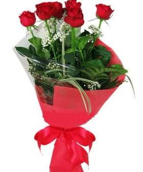 5 adet kırmızı gülden buket  Mardin kaliteli taze ve ucuz çiçekler