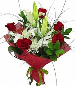 1 dal kazablanka 5 kırmızı gül buketi  Mardin kaliteli taze ve ucuz çiçekler