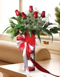 Camda 5 kırmızı gül tanzimi  Mardin çiçekçi telefonları