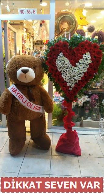 1.5 Metre peluş ayı ve Kalp  Mardin çiçek gönderme sitemiz güvenlidir