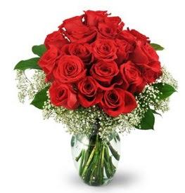 25 adet kırmızı gül cam vazoda  Mardin çiçek , çiçekçi , çiçekçilik
