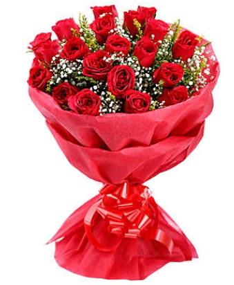 21 adet kırmızı gülden modern buket  Mardin çiçek gönderme