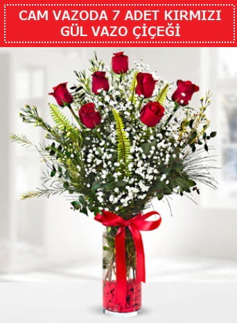 Cam vazoda 7 adet kırmızı gül çiçeği  Mardin çiçek gönderme sitemiz güvenlidir