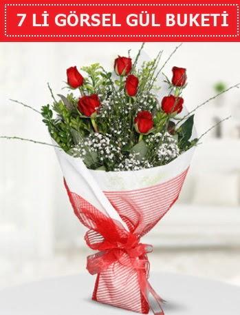 7 adet kırmızı gül buketi Aşk budur  Mardin çiçek satışı
