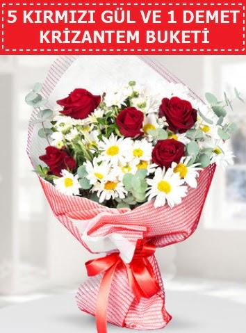 5 adet kırmızı gül ve krizantem buketi  Mardin çiçek satışı