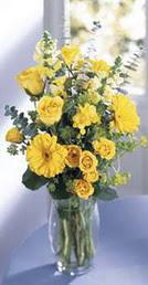 Mardin online çiçek gönderme sipariş  sari güller ve gerbera cam yada mika vazo