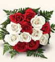 Mardin çiçek , çiçekçi , çiçekçilik  10 adet kirmizi beyaz güller - anneler günü için ideal seçimdir -