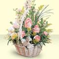 Mardin 14 şubat sevgililer günü çiçek  sepette pembe güller