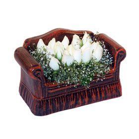 seramik içerisinde 11 gül  Mardin hediye çiçek yolla