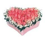 kalp içerisinde 9 adet pembe gül  Mardin çiçek satışı