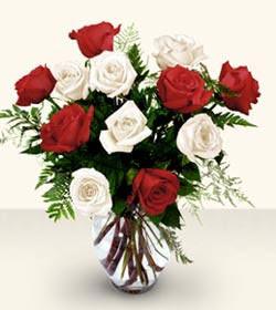 Mardin uluslararası çiçek gönderme  6 adet kirmizi 6 adet beyaz gül cam içerisinde