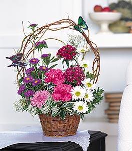 Mardin cicekciler , cicek siparisi  sepet içerisinde karanfil gerbera ve kir çiçekleri