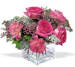 Mardin cicekciler , cicek siparisi  cam içerisinde 5 gül 7 gerbera çiçegi