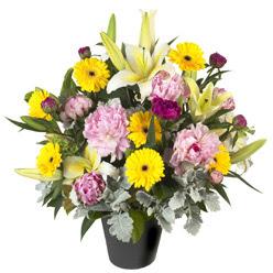 karisik mevsim çiçeklerinden vazo tanzimi  Mardin uluslararası çiçek gönderme