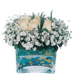 Mardin çiçekçi mağazası  mika yada cam içerisinde 7 adet beyaz gül