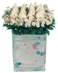 Mardin çiçekçi mağazası  7 adet beyaz gül cam yada mika vazo tanzim