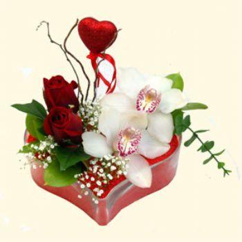 Mardin hediye sevgilime hediye çiçek  1 kandil orkide 5 adet kirmizi gül mika kalp