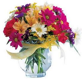 Mardin internetten çiçek satışı  cam yada mika içerisinde karisik mevsim çiçekleri