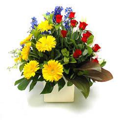 Mardin online çiçek gönderme sipariş  9 adet gül ve kir çiçekleri cam yada mika vazoda