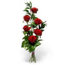 Mardin uluslararası çiçek gönderme  mika yada cam vazoda 6 adet essiz gül