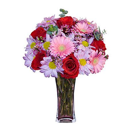 Görsel hediye karisik cam mevsim demeti  Mardin çiçekçi mağazası
