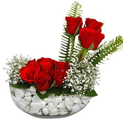 cam içerisinde 9 adet kirmizi gül  Mardin çiçek siparişi vermek