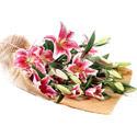 Mardin İnternetten çiçek siparişi  4 adet pembe lilyum buketi