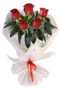 5 adet kirmizi gül buketi  Mardin çiçekçiler