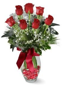 7 adet vazoda gül  Mardin internetten çiçek satışı  kirmizi gül