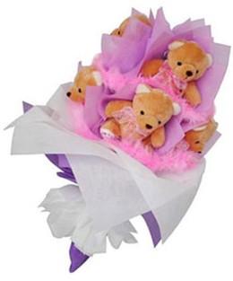 9 adet ayiciktan buket  Mardin hediye sevgilime hediye çiçek