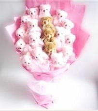 17 adet pelus ayicik buketi  Mardin İnternetten çiçek siparişi