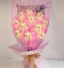 11 adet pelus ayicik buketi  Mardin çiçek yolla