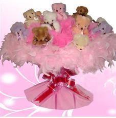 11 adet pelus ayicik buketi  Mardin çiçek satışı