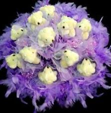 11 adet pelus ayicik buketi  Mardin çiçek , çiçekçi , çiçekçilik
