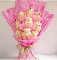 9 adet pelus ayicik buketi  Mardin anneler günü çiçek yolla