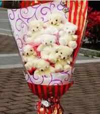 11 adet pelus ayicik buketi  Mardin ucuz çiçek gönder