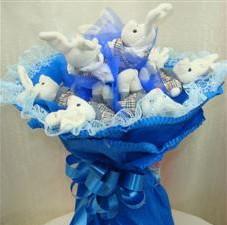 7 adet pelus ayicik buketi  Mardin çiçek , çiçekçi , çiçekçilik