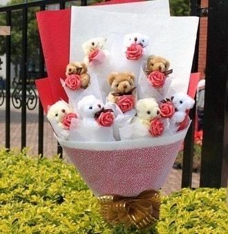 Mardin çiçek siparişi vermek  9 adet ayicik ve 9 adet yapay gül