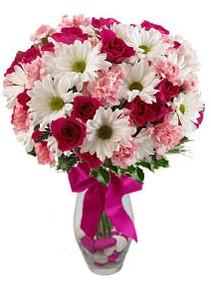Mardin çiçek siparişi sitesi  Karisik mevsim kir çiçegi vazosu