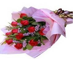 11 adet kirmizi güllerden görsel buket  Mardin çiçek gönderme sitemiz güvenlidir