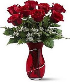 Vazo içinde 8 adet kirmizilar içinde güller  Mardin internetten çiçek siparişi