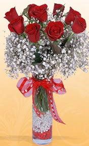 9 adet kirmizi gül cam yada mika vazoda  Mardin çiçek mağazası , çiçekçi adresleri