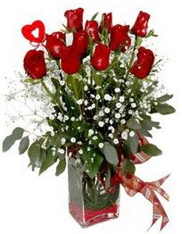 Mardin çiçek siparişi vermek  9 adet mika yada cam vazoda gül tanzimi kalp çubuk