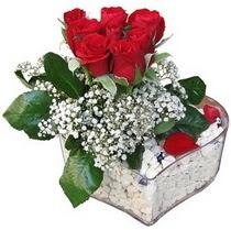 Mardin güvenli kaliteli hızlı çiçek  kalp mika içerisinde 7 adet kirmizi gül